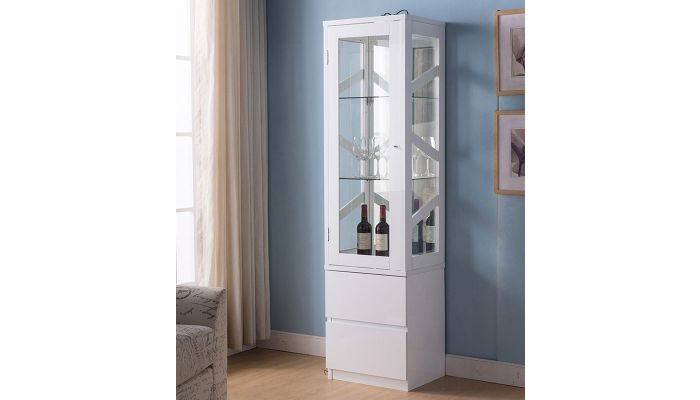 Currier White Finish Curio Cabinet,Currier White Curio Cabinet
