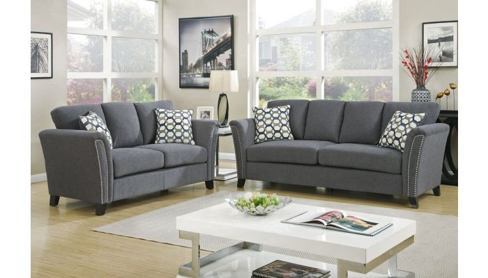Dalton Grey Fabric Living Room