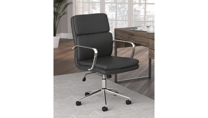 Deco Black Leather Office Chair