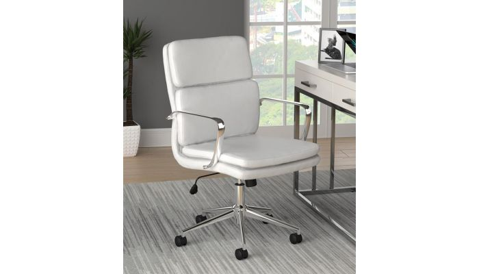 Deco White Leather Modern Office Chair