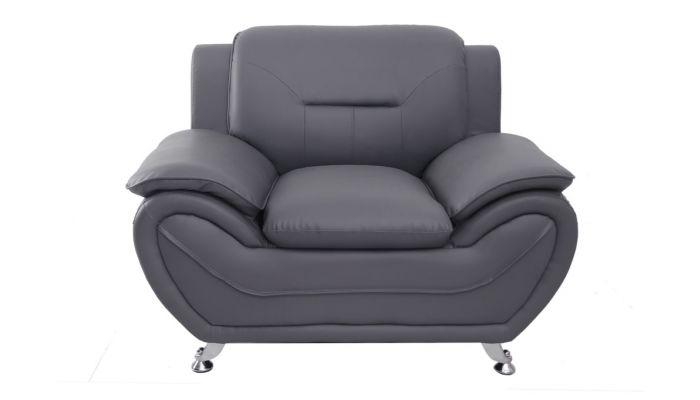 Deliah Grey Leather Modern Sofa