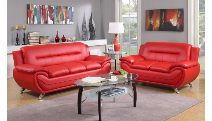Deliah Red Leather Modern Sofa