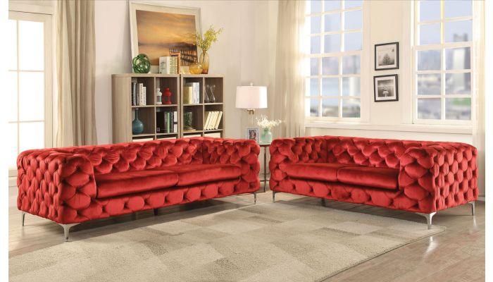 Delilah Modern Red Velvet Living Room, Red Living Room Furniture