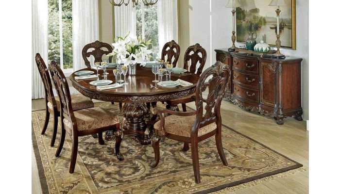 Deryn Park Traditional Round Dining Table Set