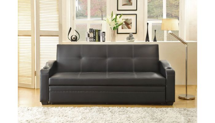 Detroit Black Leather Sofa Sleeper