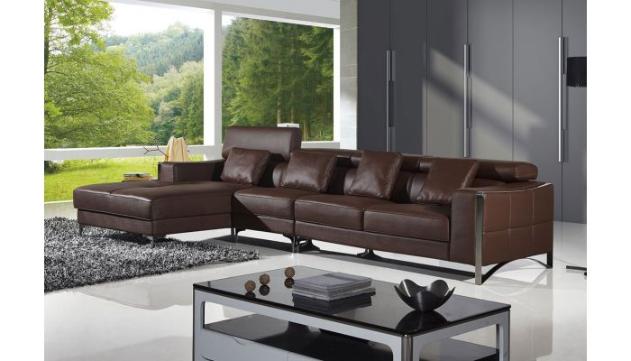 Dino Dark Brown Leather Sectional