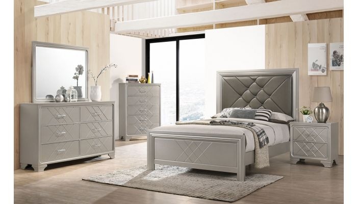 Dijon Silver Finish Modern Bedroom Set