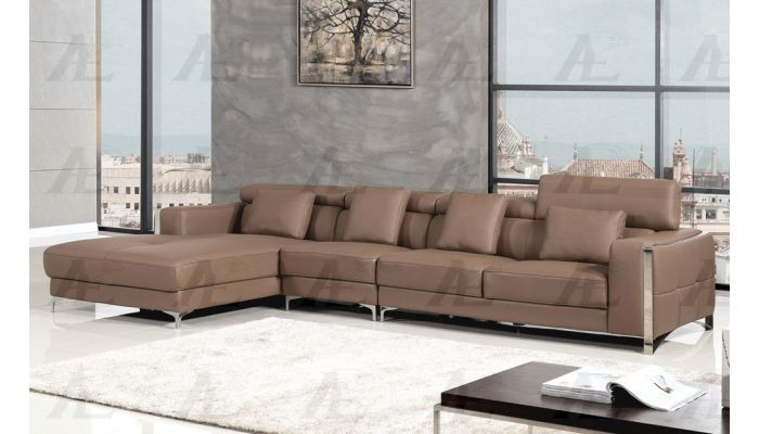 Dino Taupe Leather Modern Sectional,Dino Sectional Back Side,Dino Sectional Right Facing Side