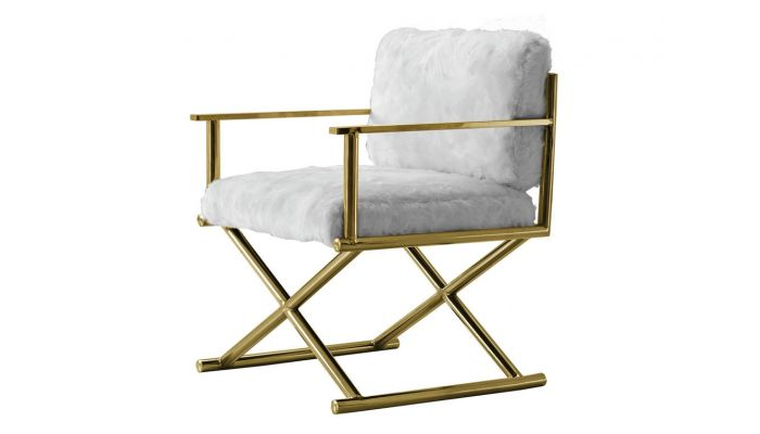 Directors Accent Chair Gold Finish