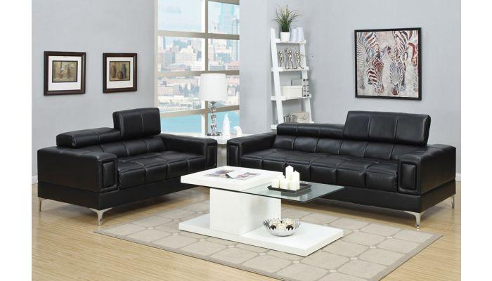 Diva Black Leather Modern Sofa Set