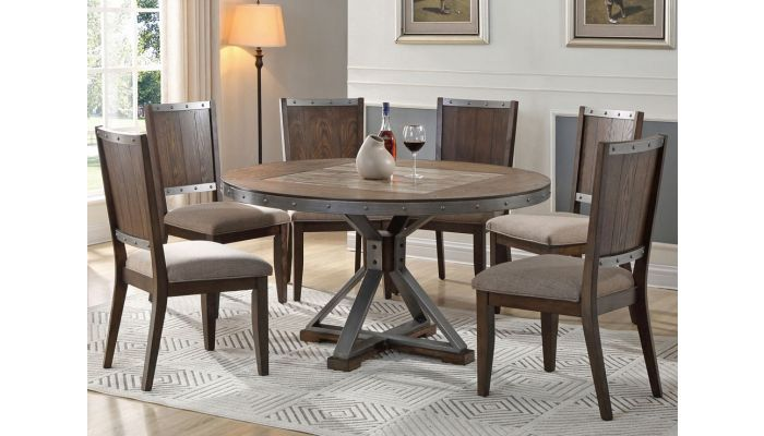 Doran Industrial Round Table Set,Doran Industrial Style Server,Doran Industrial Style Round Table,Doran Industrial Style Chair,Doran Industrial Style Dining Room Set