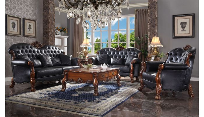 Dresden Black Leather Traditional Sofa, Traditional Sofas Living Room Furniture