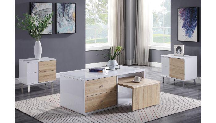 Dromore White Lacquer Storage Coffee Table