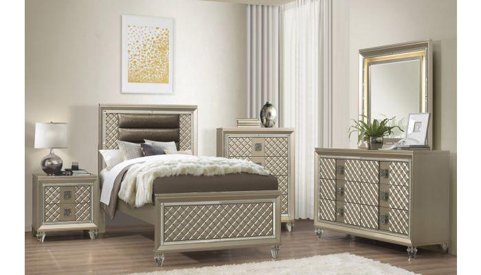 Edward Champagne Finish Bedroom Set
