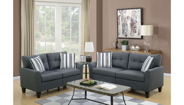 Egerton Grey Linen 2-Piece Sofa Set