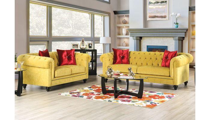 Elisa Yellow Microfiber Chesterfield Sofa Set