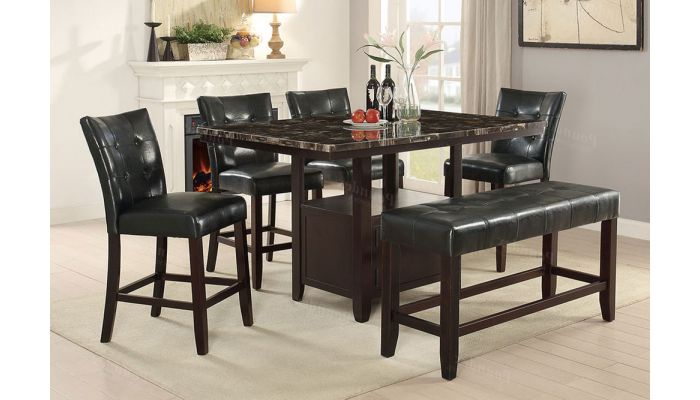 Elivia Counter Height Table Set,Elivia Counter Height Table With Silver Chairs