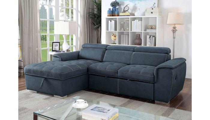 Emerald Blue Fabric Sectional Sleeper