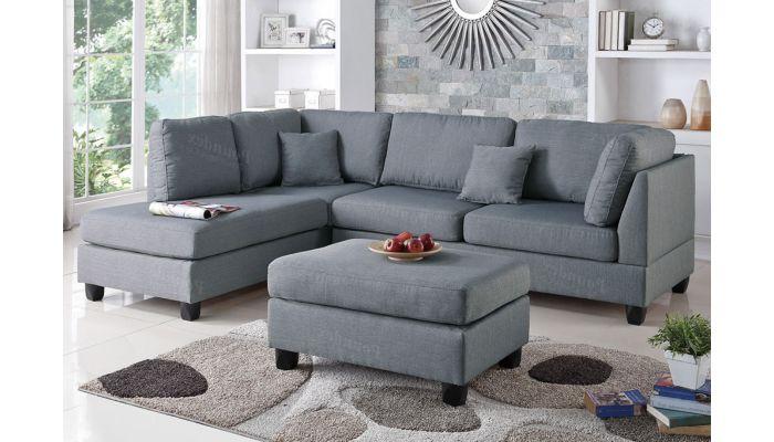 Emilia Grey Linen Sectional Sofa Set