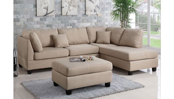 Emilia Beige Sectional With Ottoman