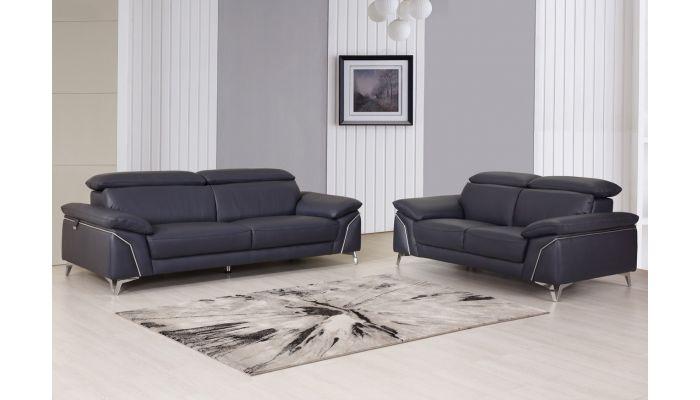 Emiliano Navy Italian Leather Sofa