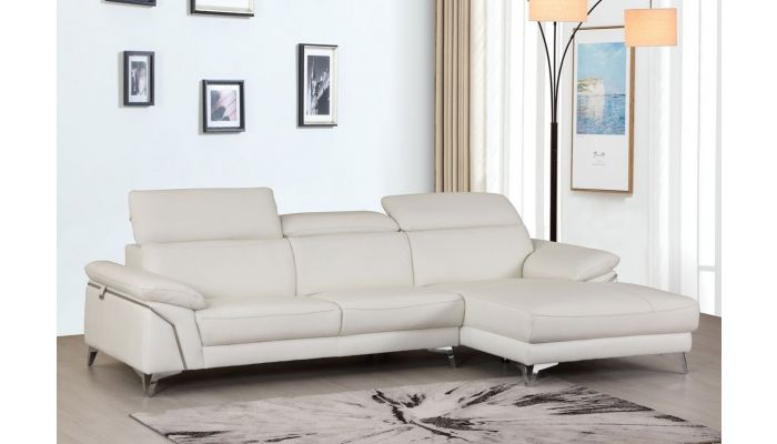 Emiliano White Leather Sectional