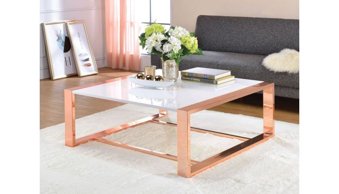 Emony Rose Gold Finish Coffee Table