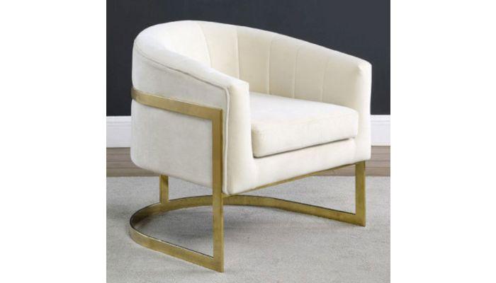 Estevao Beige Velvet Accent Chair