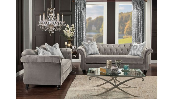 Esther Grey Fabric Classic Living Room