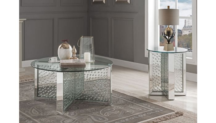 Eternal Mirrored Coffee Table Crystal Accented