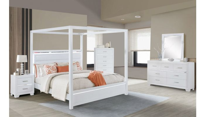 Evon White Canopy Bed With LED Light