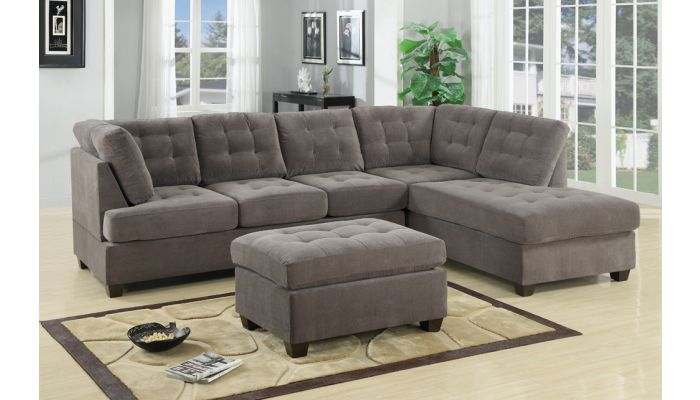 Poga Grey Suede Sectional Sofa