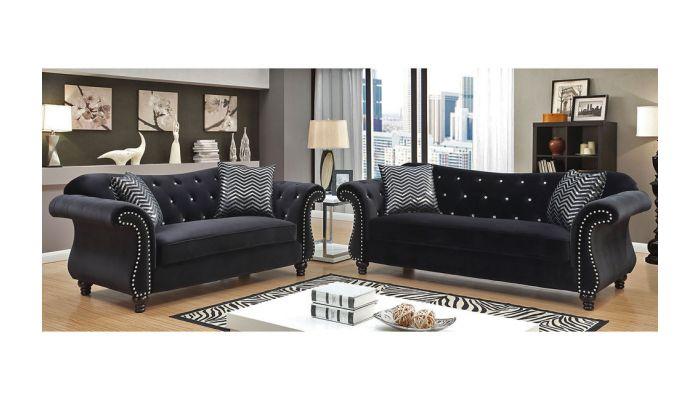 Faris Crystal Tufted Fabric Sofa