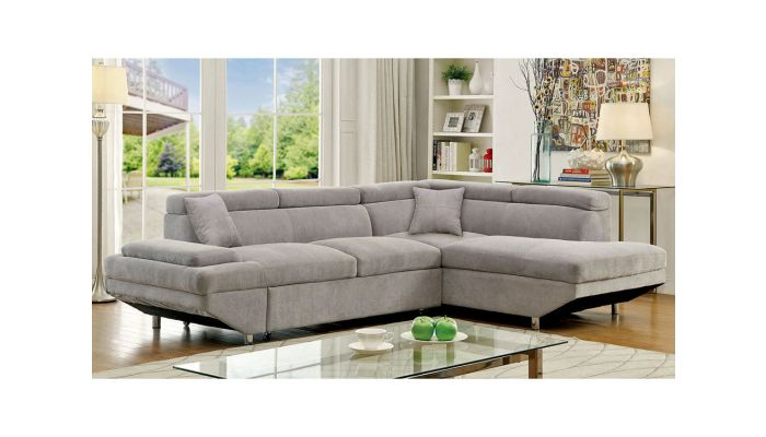 Favian Grey Fabric Sectional Sleeper