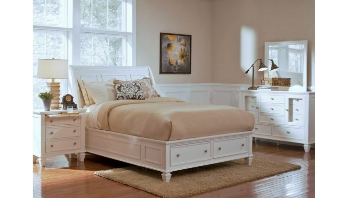 Fawn White Bed With Storage Drawers