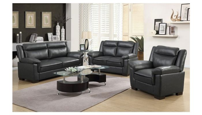 Felipe Casual Living Room Grey Leather