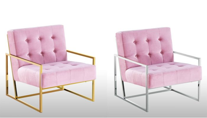 Fenton Blush Velvet Accent Chair