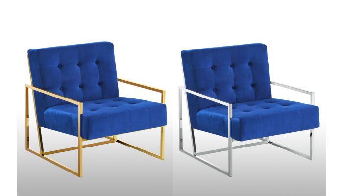 Fenton Navy Velvet Accent Chair