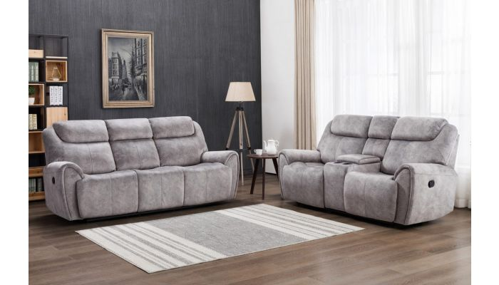 Flatbush Grey Velvet Recliner Sofa