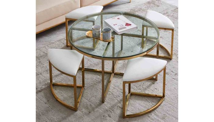 Flori Coffee Table With Four Stools