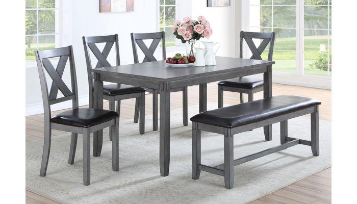 Galina Rustic Grey Dining Table Set