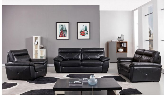Galore Black Italian Leather Sofa Set