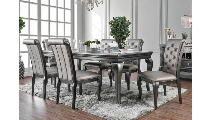 Garey Gray Finish Dining Table Set, Gray Wood Dining Room Table Sets