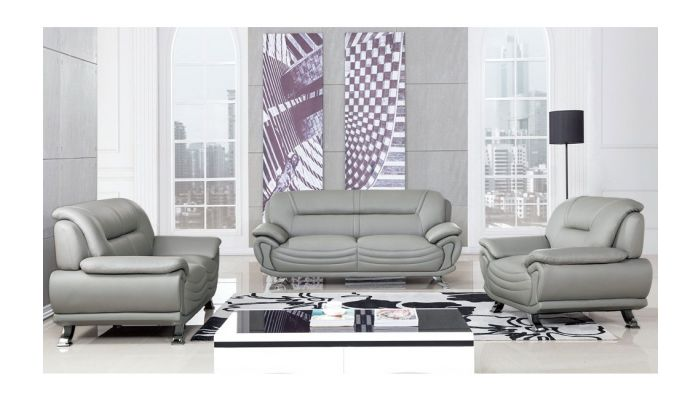 Genesis Modern Grey Leather Sofa