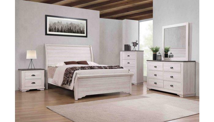 Geneva Chalk Finish Sleigh Bedroom Set