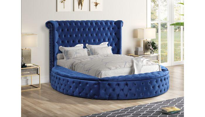 Gerbera Navy Blue Tufted Velvet Round Bed, Blue Velvet Queen Bed With Storage