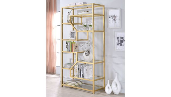 Giana Modern Glass Shelves Bookcase