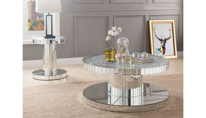 Glasco Mirrored Round Coffee Table