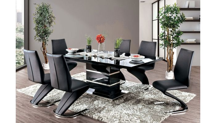 Glaze Modern Dining Table Black Lacquer