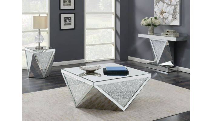 Glimmer Mirrored Coffee Table With Crystals